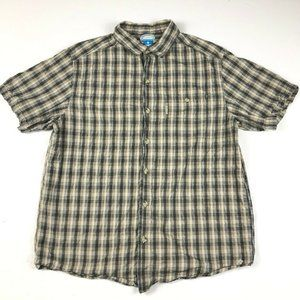 Columbia Tan Black Plaid Collar Button Down Shirt